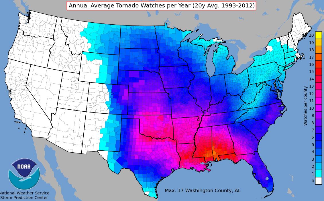 Tornado Watch Statistics