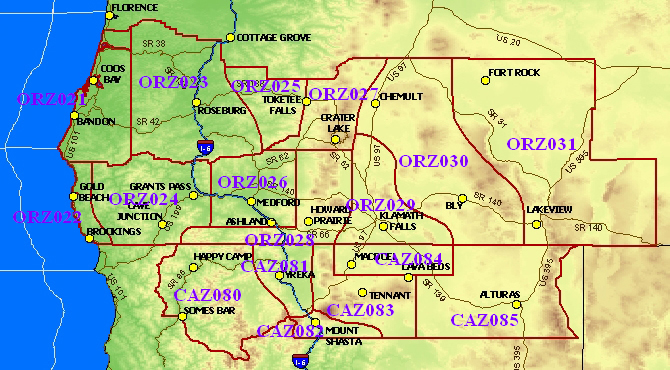 Zone forecast map