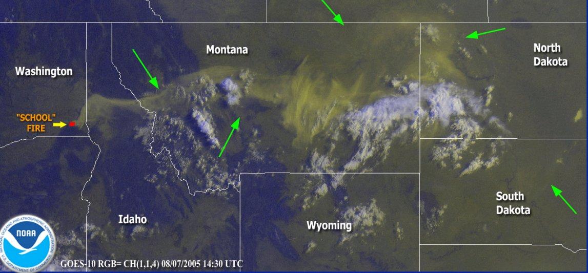Satellite image showing smoke plume extending into North Dakota