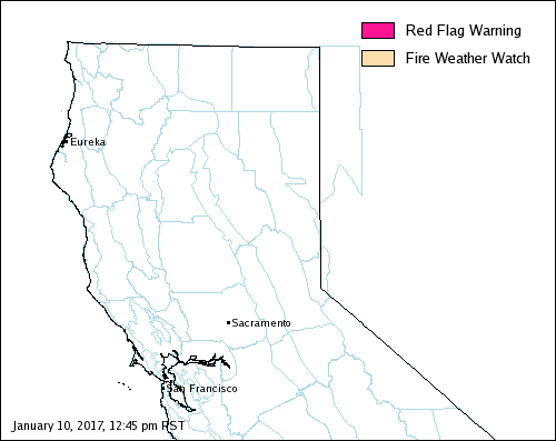 Northern California FWZ Fire Weather Map